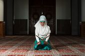 picture of tasbih  - Young Muslim Woman Praying In Mosque  - JPG