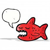stock photo of piranha  - cartoon piranha with speech bubble - JPG