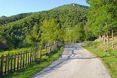 foto of stockade  - wooden fence along rural road in Serbia  - JPG