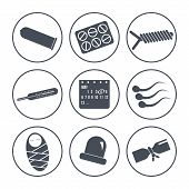 picture of contraceptives  - Set of icons on a theme contraception - JPG