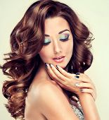 pic of silver-hair  - Beautiful model with long curly hair and silver nails - JPG