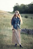 pic of hippy  - Beautiful hippie girl on nature. Boho fashion style