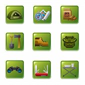 stock photo of boot camp  - art illustration of the tourism camping equipment icon set - JPG