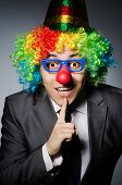 stock photo of clown face  - Clown businessman in funny concept - JPG