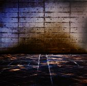 stock photo of stone floor  - Grungy concrete and stone room with mysteriously illuminated stone floor - JPG