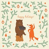 picture of bear  - Greeting Christmas card - JPG