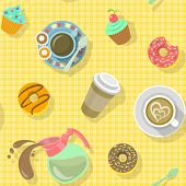 image of donut  - Bright colorful flat seamless pattern with cups of black coffee - JPG