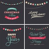foto of chalkboard  - Vintage Christmas design with elements - JPG