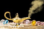 Постер, плакат: The formation of a magical deity from a gold magic lamp surrounded by a wealth of jewelry and fanta