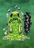 picture of puke  - Cartoon Nausea Monster - JPG