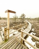 foto of frostbite  - wooden boardwalk with empty direction sign and frozen nature