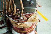 picture of transformer  - details of broken high voltage power transformer at repair shop - JPG