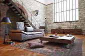 picture of 3d  - 3D rendering of a modern loft interior - JPG