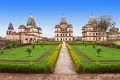 stock photo of raja  - Chhatris or Cenotaphs are dome shaped structure built in 17th century for a long memory about raja of Orchha city - JPG