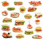 stock photo of hamburger-steak  - Collage of sandwiches isolated on a white background - JPG