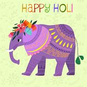 stock photo of indian culture  - Happy Holi - concept vector card-Indian festival Happy Holi celebrations -with cute elephant