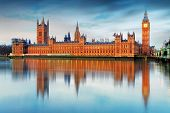 stock photo of london night  - Houses of parliament  - JPG
