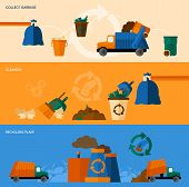 picture of dumpster  - Garbage collect cleaning and recycling plant horizontal banner set isolated vector illustration - JPG
