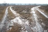 image of icy road  - two melting - JPG