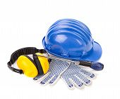 image of respiration  - Safety helmet gloves and respirator - JPG