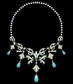 image of teardrop  - Gold necklace with diamonds and aquamarine teardrop shape - JPG