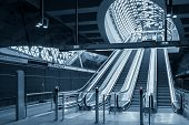 picture of escalator  - Moving escalator in the business center of a city
