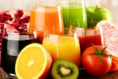 image of fruit-juice  - Glasses of fresh organic vegetable and fruit juices. Detox diet.