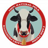 stock photo of cow  - Black and white cow label with bell - JPG