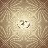 image of om  - Vector abstract gold background with rays and OM mantra - JPG