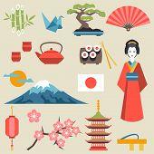 foto of japanese flag  - Japan icons and symbols set - JPG