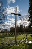 stock photo of military personnel  - This cross of remembrance stands at the German war cemetery at Cannock chase in Staffordshire where German military personnel and German civilian internees of both World Wars are interred - JPG