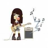 picture of rock star  - Japanese rock star girl playing on guitar and do bubble gum bubble - JPG