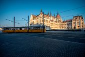picture of tram  - Hungarian parliament in the morning in Budapest - JPG