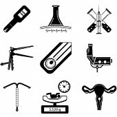 image of obstetrics  - Set of black silhouette vector icons for gynecology and obstetrics on white background - JPG