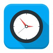 stock photo of chronometer  - Clock app icon with long shadow - JPG