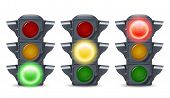 stock photo of illuminating  - Traffic lights illuminated realistic decorative icons set isolated vector illustration - JPG