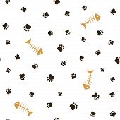 stock photo of paws  - Cat theme seamless pattern with heart shaped animal paw footprints and fish bones - JPG