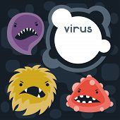 pic of microbes  - Background with little angry viruses - JPG