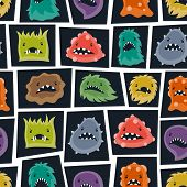 image of monsters  - Seamless pattern with little angry viruses - JPG