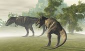 foto of tyrannosaurus  - Two Tyrannosaurus Rex dinosaurs rest in the early morning light before the days hunt - JPG