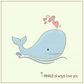 pic of whale-tail  - Cute whale in love with hearts fountain blow - JPG