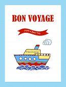 stock photo of bon voyage  - Bon Voyage journey greeting card with hand drawn steamship - JPG