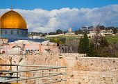stock photo of aqsa  - View Dome of the Rock and Temple Mount in Jerusalem with melting snow - JPG