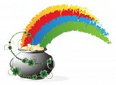 pic of pot gold  - Rainbow and Leprechaun pot with gold coins on white background - JPG