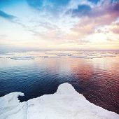 picture of arctic landscape  - Winter coastal landscape with snow and ice - JPG