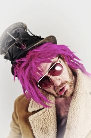 image of bum  - Pink haired bearded cool bum lunatic man - JPG