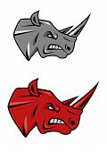 foto of rhino  - Angry rhino head with evil grin and glaring red eyes in gray or red color variations for tattoo or sporting mascot design - JPG