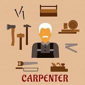 picture of overalls  - Carpenter profession flat concept with moustached man in overalls - JPG