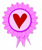 stock photo of rosettes  - Pink and purple rosette with a red heart inset - JPG