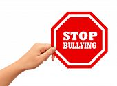 image of stop bully  - Stop bullying sign isolated on white background - JPG